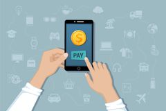 Free Online Mobile Payment, Money Transfer Service. Pay For Goods And Services By Cashless Payments. Hand Holding A Phone With A Coin Royalty Free Stock Images - 112527929