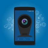 Online mobile phone camera webcam security surveillance internet Royalty Free Stock Image