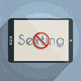 Online and mobile safety. Sexting, risks and legal issues. Flat design illustration Stock Photos