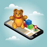 Isometric online e-commerce toy shop. Searching for gift. Home delivery.  Stock Photography