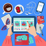 Online Mobile Shopping Concept in Flat Design Royalty Free Stock Photography