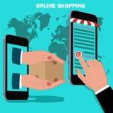 Online mobile shopping concept, flat design, vector illustration Royalty Free Stock Images