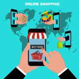 Online mobile shopping concept, flat design, vector illustration Stock Images
