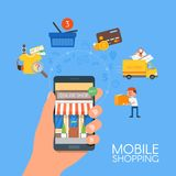 Online mobile shopping concept. Vector illustration in flat style design. Payment on internet. Stock Photos