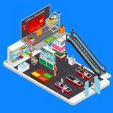 Online Mobile Shopping E-commerce Concept 3d Isometric View. Vector. Online Mobile Shopping E-commerce Concept 3d Isometric View Marketing Technology for Web Stock Photo