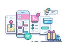 Online-mobilen shoppar vektor illustrationer