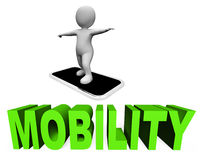 Online Mobility Means Mobile Phone And Cellphones 3d Rendering Royalty Free Stock Photo