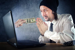 Online money, businessman asking for money Royalty Free Stock Photos