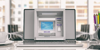 Online money concept. ATM machine and a laptop - office background. 3d illustration. Online money concept. ATM machine on a laptop screen - office background. 3d Royalty Free Stock Photos