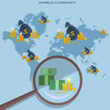 Online money concept transfer transactions financing cash. Payments investment global business vector Stock Images