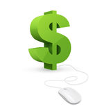 Online money concept. Web account. Virtual money. Management online wallet, computer mouse is connected to dollar sign. Online money concept. Management online royalty free illustration