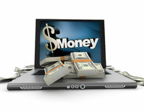 Online money, dollars Royalty Free Stock Image