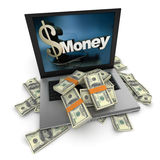Online money, dollars Royalty Free Stock Images