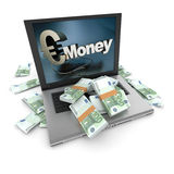 Online money, euros Stock Photo