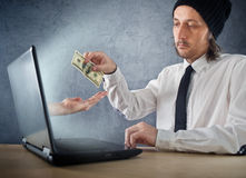 Online money funds, businessman giving money Stock Photos