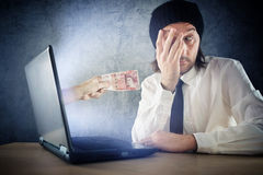 Online money funds, surprised businessman receivin. G cash over internet. Earning money on network Stock Photography
