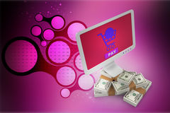 Online money making concept. In color background Royalty Free Stock Images