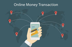 Online Money Transaction Around The World Illustration. Man Holding Smartphone with Online Money Transaction, Send Money around the world Illustration Stock Photo