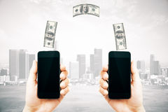 Online money transfer concept city Royalty Free Stock Photography