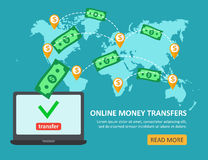Online money transfer concept with laptop with dollar bills abov Stock Photography