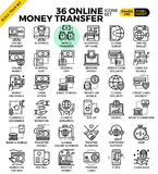 Online money transfer payment icons. Online money transfer payment outline icons modern style for website or print illustration Royalty Free Stock Photography