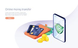 Online money transfer from wallet to smartphone in isometric vector illustration. Capital flow, earning or making money. Financial savings or economy concept vector illustration