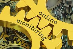 Online monitoring concept on the gearwheels, 3D rendering. Online monitoring concept on the gearwheels, 3D Royalty Free Stock Image
