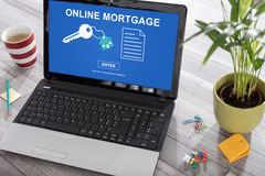 Online mortage concept on a laptop Royalty Free Stock Photo