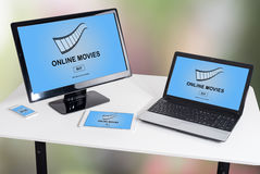 Online movie concept on different devices Stock Image
