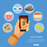 Online movie concept. Concept online movie, man holding smartphone vertically in hand with curtain and countdown on screen, isolated vector flat icon Royalty Free Stock Photography