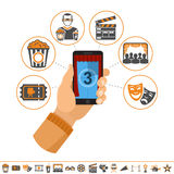 Online movie concept. Concept online movie, man holding smartphone vertically in hand with curtain and countdown on screen, isolated vector flat and two color Stock Image