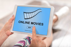 Online movie concept on a tablet Royalty Free Stock Image