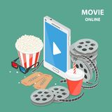 Online movie flat isometric low poly vector concept. Composition with a smartphone surrounded by reels, popcorn, glasses, soda, tickets. Streaming, live cinema Royalty Free Stock Images