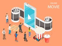 Online movie flat isometric vector concept. Composition with a smartphone and film tape going through it, surrounded by reels, popcorn, glasses and watching Royalty Free Stock Image