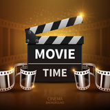 Online movie and television vector background with cinema clapper and film roll Royalty Free Stock Photography