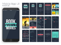 Online Movie Tickets Booking Mobile UI design. Material Design UI, UX and GUI for Online Movie Booking Mobile Apps with Sign In, Sign Up, Select Location, Movie vector illustration
