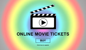 Online movie tickets buying concept Stock Images