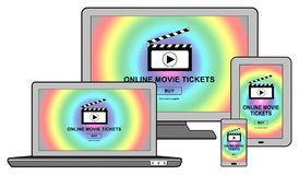 Online movie tickets buying concept on different devices. Online movie tickets buying concept shown on different information technology devices Stock Images