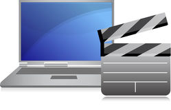 Online movies concept laptop. Illustration Royalty Free Stock Photography