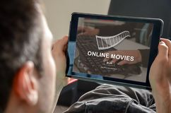 Concept of online movies. Online movies concept on a tablet Stock Photo