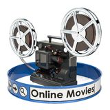 Online movies, films concept. 3D. Rendering royalty free illustration