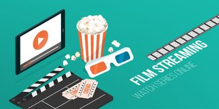 Online movies streaming. Online movies and series streaming on a smartphone, popcorn, clapperboard and 3d glasses: video and entertainment concept stock illustration