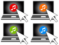 Online music. Listening to and buying music online Royalty Free Stock Photos