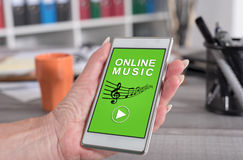 Online music concept on a smartphone Royalty Free Stock Photo