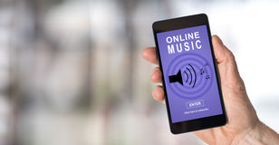 Online music concept on a smartphone Stock Images