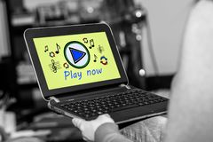 Online music concept on a tablet stock illustration