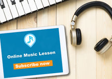 Online Music lesson banner on table Royalty Free Stock Images