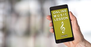 Online music lesson concept on a smartphone Royalty Free Stock Photography