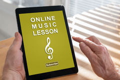 Online music lesson concept on a tablet Stock Photo