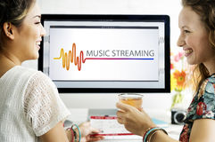 Online Music Multimedia Entertainment Sounds Concept Royalty Free Stock Images